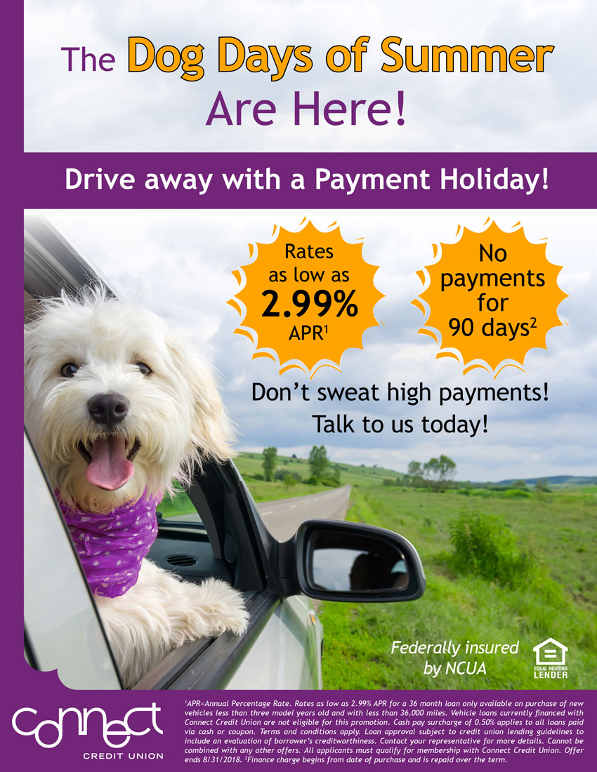 The Dog Days of Summer Are Here. Drive away with a 90-Day Payment Holiday